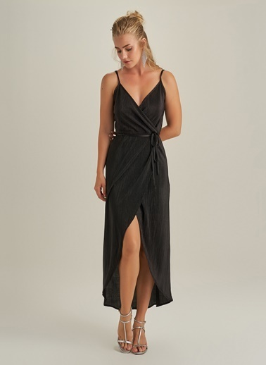 Ng Style Pliseli Askılı Elbise Siyah